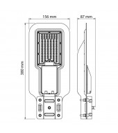 Lampione stradale a LED 40W, luce neutra, SMD3030, IP66